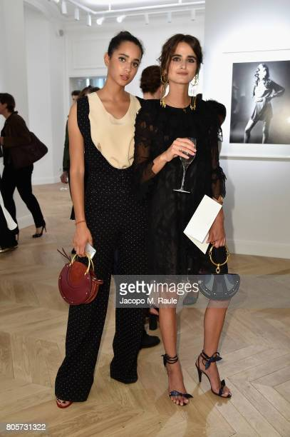 Iman Perez and Loulou Robert attend Guy Bourdin inaugural exhibition and unveiling of Maison Chloe as part of Paris Fashion Week at Maison Chloe on...