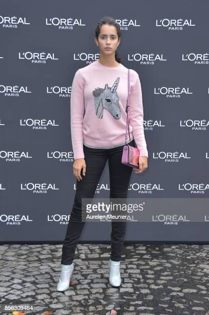 Iman Perez attends Le Defile L'Oreal Paris as part of Paris Fashion Week Womenswear Spring/Summer 2018 at Avenue Des Champs Elysees on October 1 2017...