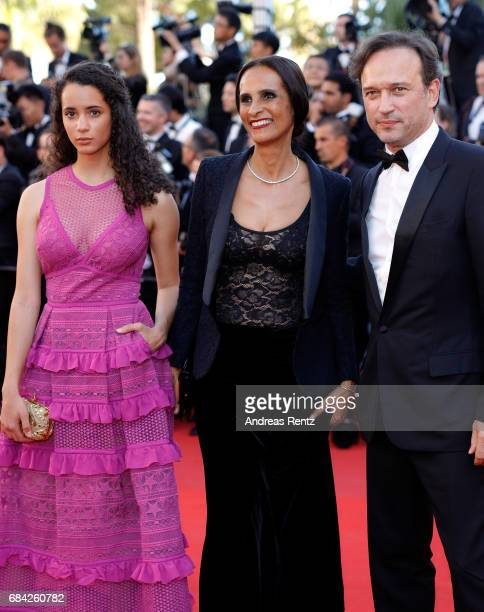 Iman Perez Karine Silla and Vincent Perez attend the 'Ismael's Ghosts ' screening and Opening Gala during the 70th annual Cannes Film Festival at...