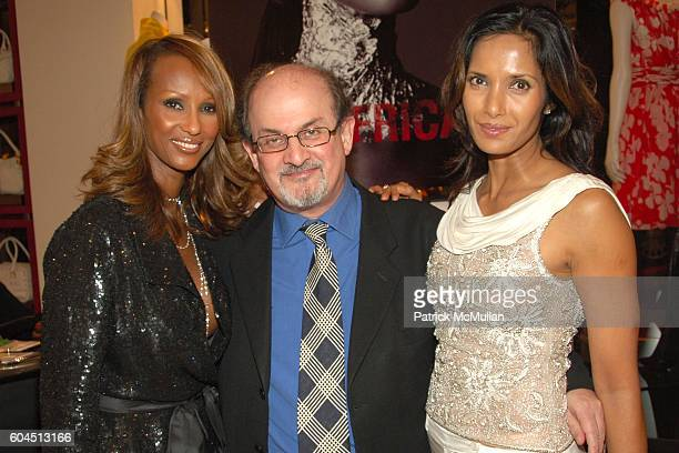 Iman Salman Rushdie and Padma Lakshmi attend Iman and Valentino Host Cocktail Reception Supporting Keep a Child Alive at Valentino on November 15...
