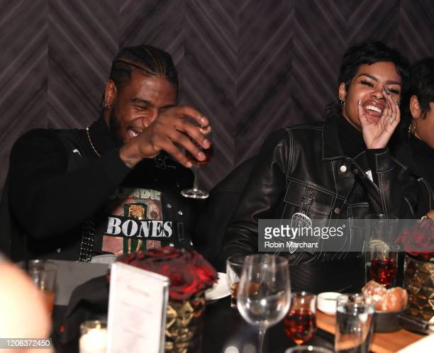 Iman Shumpert and Teyana Taylor attend The Compound and Luxury Watchmaker Roger Dubuis Hosts NBA AllStar Dinner at STK Chicago on February 14 2020 in...