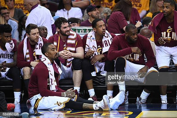 Iman Shumpert JR Smith Matthew Dellavedova Kevin Love Channing Frye LeBron James and Tristan Thompson of the Cleveland Cavaliers look on from the...