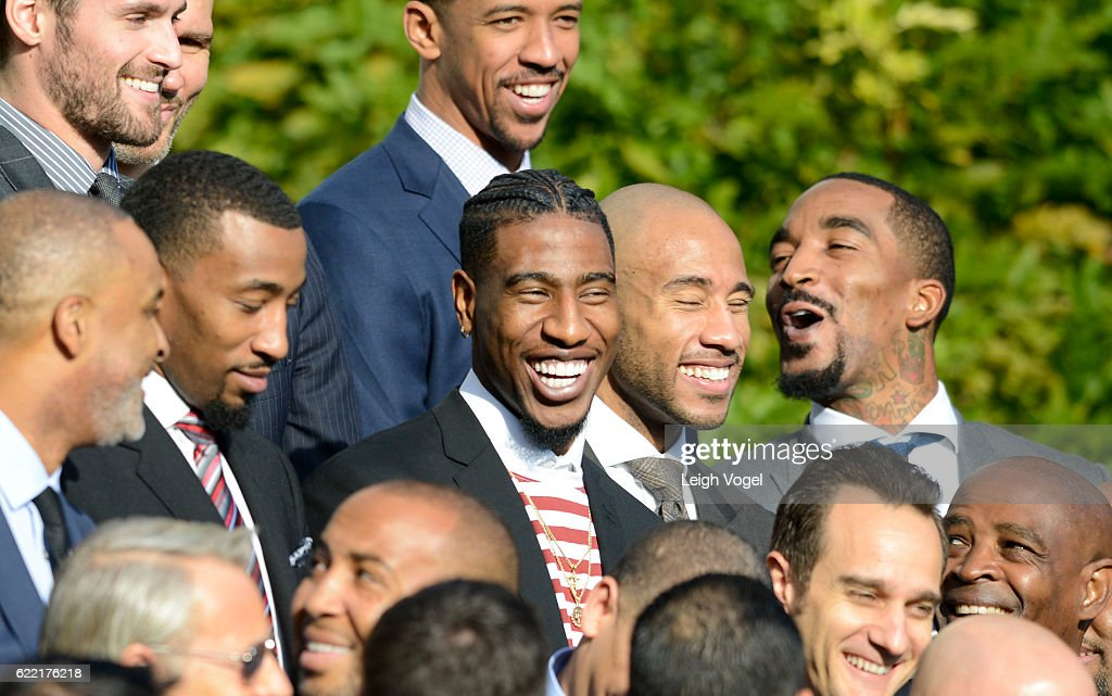 Iman Shumpert laughs as President Obama welcomes the 2016 NBA Champions Cleveland Cavaliers to The White House on November 10, 2016 in Washington, DC.