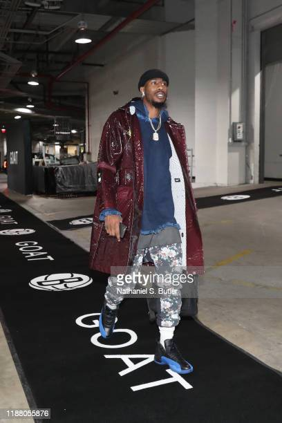 Iman Shumpert of the Brooklyn Nets arrives prior to a game against the Charlotte Hornets on December 11 2019 at Barclays Center in Brooklyn New York...