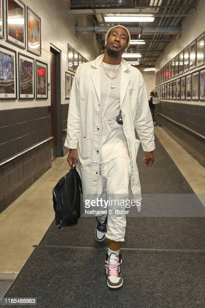 Iman Shumpert of the Brooklyn Nets arrives to the arena before the game against the Boston Celtics on November 29 2019 at Barclays Center in Brooklyn...