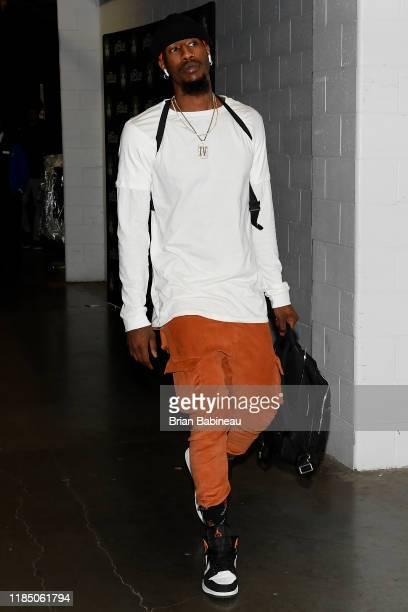 Iman Shumpert of the Brooklyn Nets arrives to the game against the Boston Celtics on November 27 2019 at the TD Garden in Boston Massachusetts NOTE...