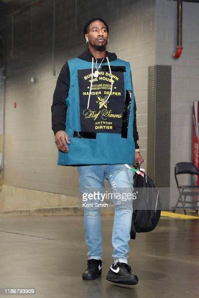 Iman Shumpert of the Brooklyn Nets arrives to the game against the Charlotte Hornets on December 6 2019 at Spectrum Center in Charlotte North...