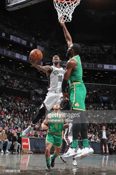 Iman Shumpert of the Brooklyn Nets drives to the basket against the Boston Celtics on November 29 2019 at Barclays Center in Brooklyn New York NOTE...