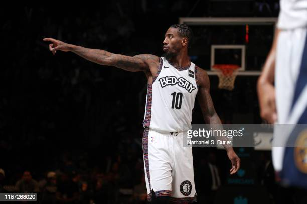 Iman Shumpert of the Brooklyn Nets looks on during a game against the Denver Nuggets on December 8 2019 at Barclays Center in Brooklyn New York NOTE...