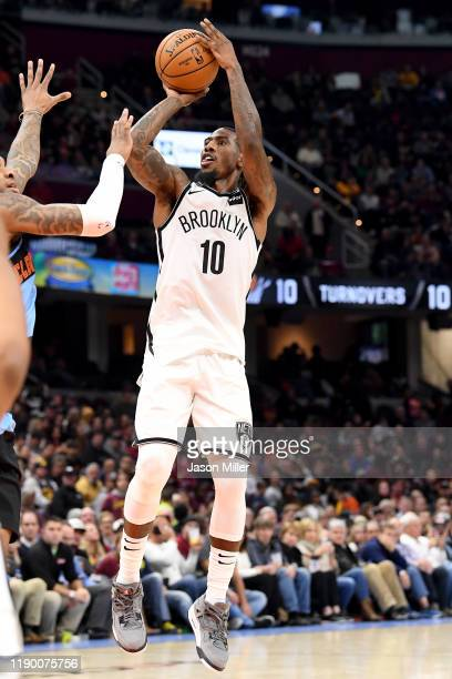 Iman Shumpert of the Brooklyn Nets shoots during the second half against the Cleveland Cavaliers at Rocket Mortgage Fieldhouse on November 25 2019 in...