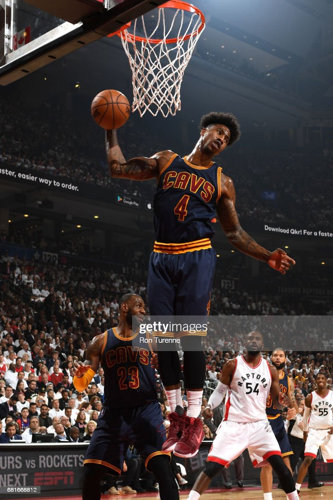 Iman Shumpert #4 of the Cleveland Cavaliers grabs the rebound against the Toronto Raptors during Game Three of the Eastern Conference Semifinals of the 2017 NBA Playoffs on April 18, 2017 at the Air Canada Centre in Toronto, Ontario, Canada.