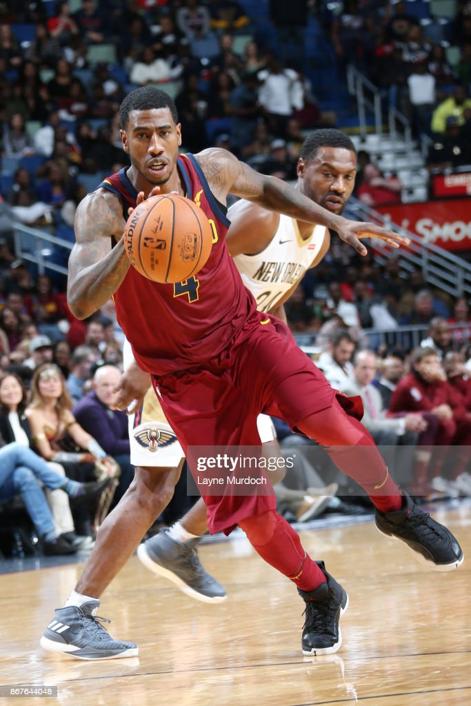 Iman Shumpert #4 of the Cleveland Cavaliers handles the ball against the New Orleans Pelicans on October 28, 2017 at the Smoothie King Center in New Orleans, Louisiana.