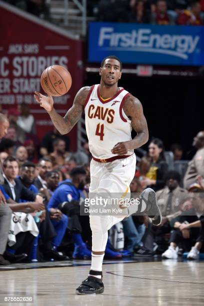 Iman Shumpert of the Cleveland Cavaliers handles the ball against the LA Clippers on November 17 2017 at Quicken Loans Arena in Cleveland Ohio NOTE...