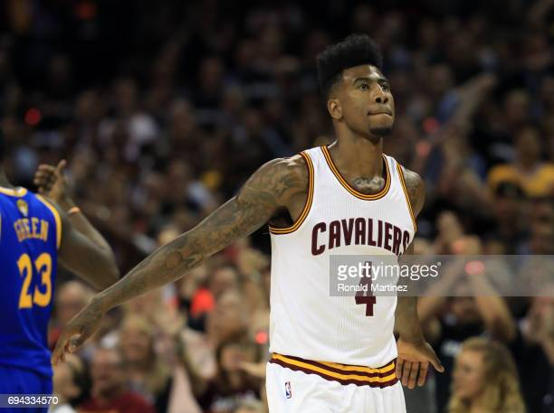 Iman Shumpert of the Cleveland Cavaliers reacts against the Golden State Warriors during the first half in Game 4 of the 2017 NBA Finals at Quicken...