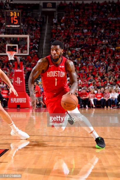 Iman Shumpert of the Houston Rockets drives to the basket during the game against the Golden State Warriors during Game Three of the Western...