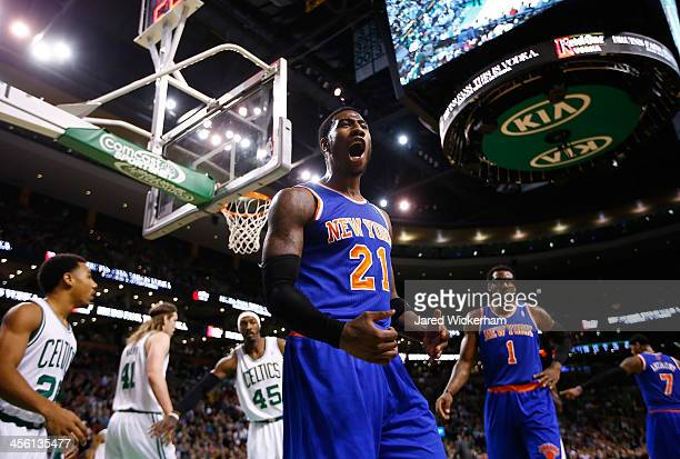 Iman Shumpert of the New York Knicks argues a noncall with a referee following a blocked shot in the fourth quarter against the Boston Celtics during...
