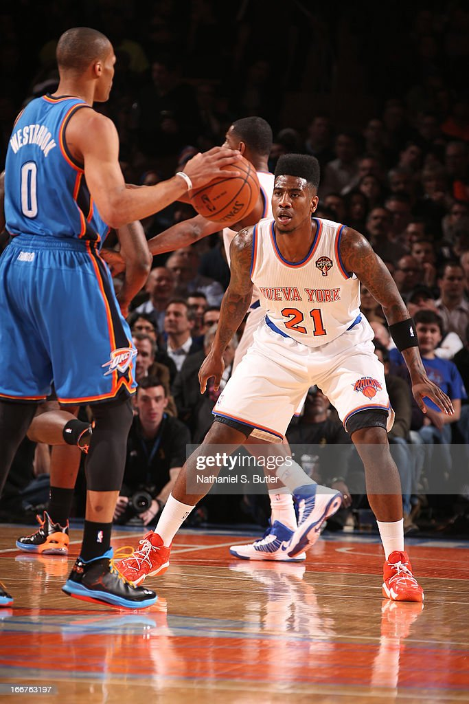Iman Shumpert #21 of the New York Knicks defends against Russell Westbrook #0 of the Oklahoma City Thunder on March 7, 2013 at Madison Square Garden in New York City.