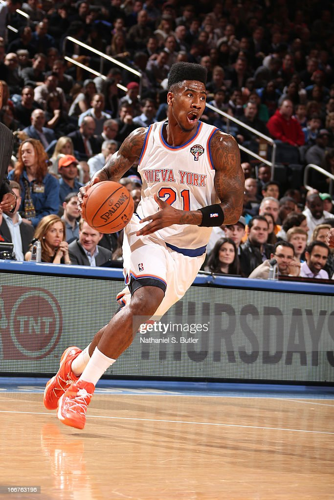 Iman Shumpert #21 of the New York Knicks drives to the basket against the Oklahoma City Thunder on March 7, 2013 at Madison Square Garden in New York City.