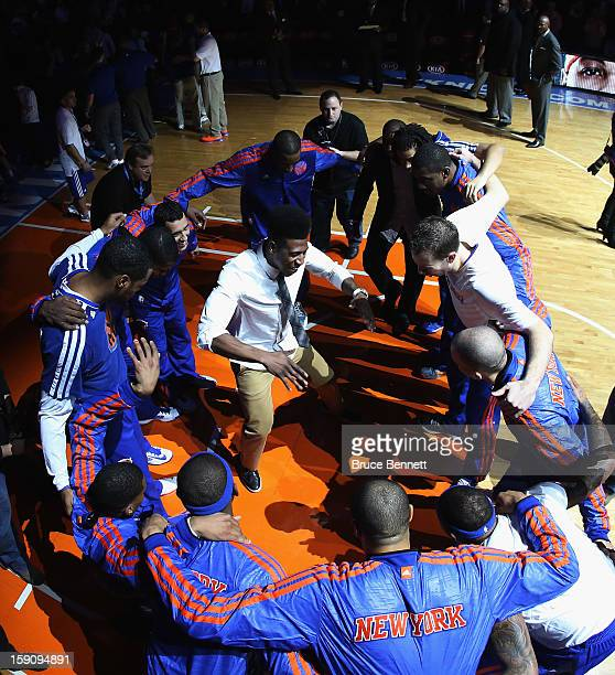 Iman Shumpert of the New York Knicks gets in the middle of the circle during the pregame introuctions prior to the game against the Boston Celtics at...