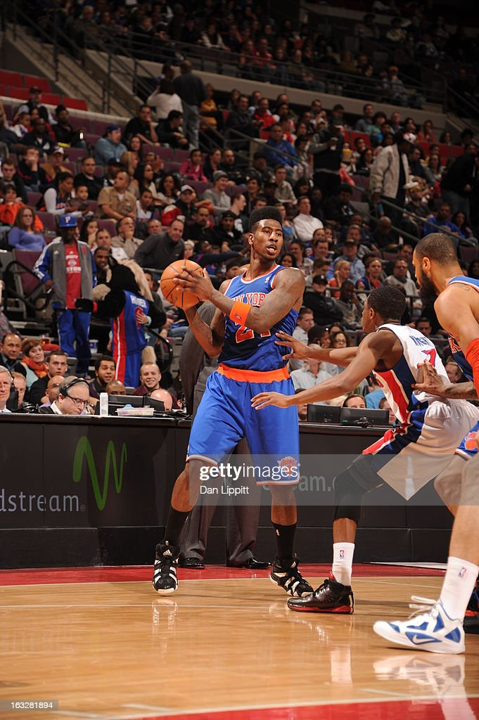Iman Shumpert #21 of the New York Knicks protects the ball during the game between the Detroit Pistons and the Atlanta Hawks on March 6, 2013 at The Palace of Auburn Hills in Auburn Hills, Michigan.