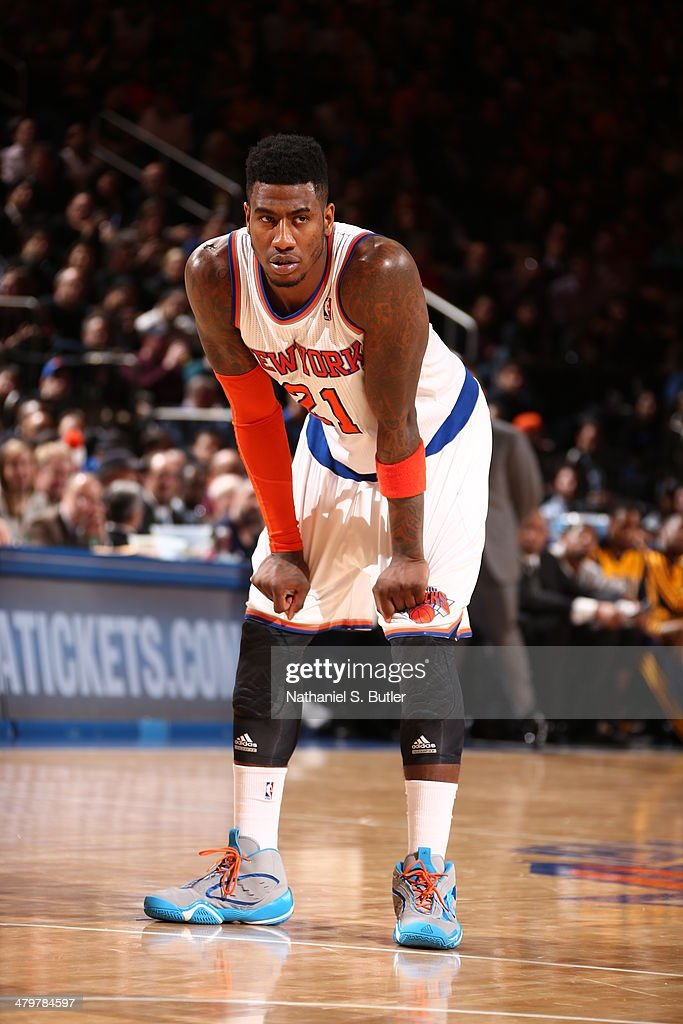 Iman Shumpert #21 of the New York Knicks stands on the court during a game against the Indiana Pacers at Madison Square Garden in New York City on March 19, 2014.