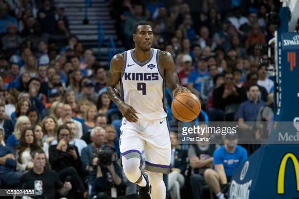 Iman Shumpert of the Sacramento Kings brings the ball up court during the second half of a NBA game at the Chesapeake Energy Arena on October 21 2018...