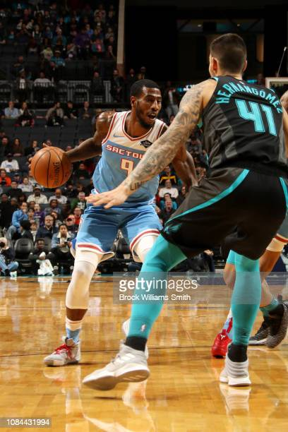 Iman Shumpert of the Sacramento Kings handles the ball against the Charlotte Hornets on January 17 2019 at Spectrum Center in Charlotte North...
