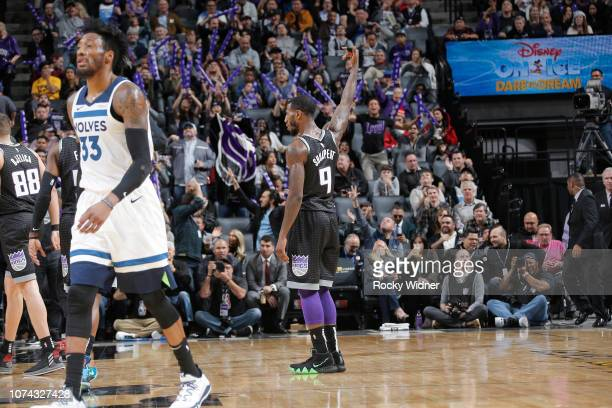 Iman Shumpert of the Sacramento Kings pumps the crowd up during the game against the Minnesota Timberwolves on December 12 2018 at Golden 1 Center in...
