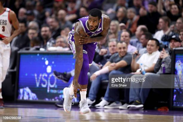 Iman Shumpert of the Sacramento Kings reacts after making a shot against the Portland Trail Blazers at Golden 1 Center on January 14 2019 in...