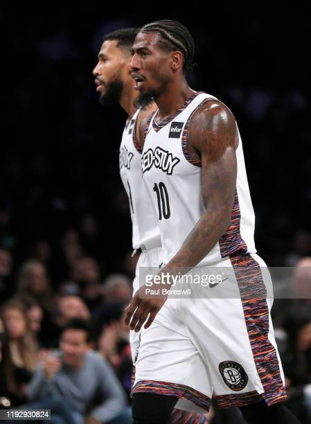 Iman Shumpert walks off the court reacting during a timeout in an NBA basketball game against the Boston Celtics on November 29 2019 at Barclays...