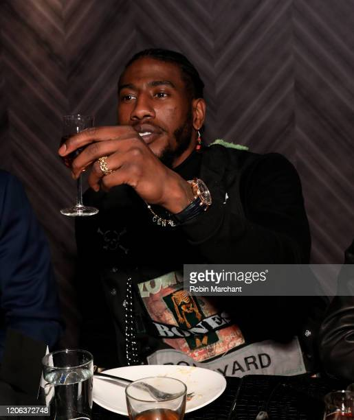 Iman Shumpert wearing Excalibur 42 automatic Skeleton attends The Compound and Luxury Watchmaker Roger Dubuis Hosts NBA AllStar Dinner at STK Chicago...