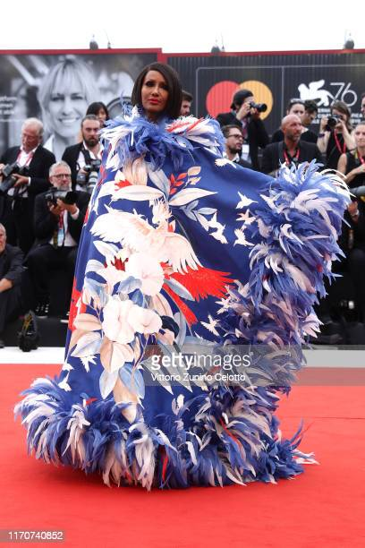 Iman walks the red carpet ahead of the Opening Ceremony and the La Vérité screening during the 76th Venice Film Festival at Sala Grande on August 28...