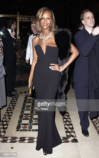 Iman wearing a De Beers diamond necklace during amfAR Benefit Evening Honoring Richard Gere Lorne Michaels and Anna Wintour Party at Cipriani's 42nd...