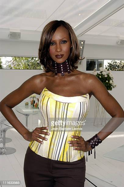 Iman wearing DeBeers Diamonds during 2003 Cannes Film Festival DeBeers Party at Studio 5 at The Noga Hilton in Cannes France