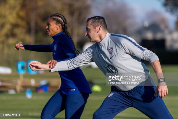 Imani Dorsey and Vlatko Andonovski of the United States run through a drill at Columbus Crew Training Facility on November 3 2019 in Columbus Ohio