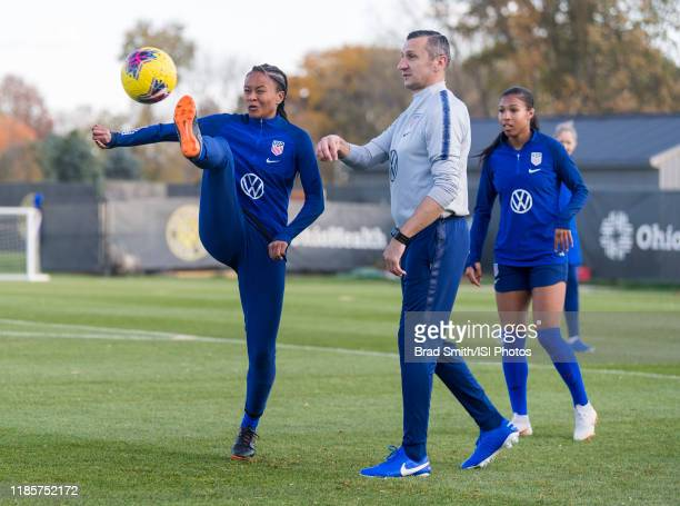 Imani Dorsey of the United States clears the ball in front of Vlatko Andonovski at Columbus Crew Training Facility on November 3 2019 in Columbus Ohio