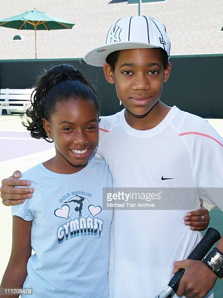 Imani Hakim and Tyler James Williams during Everybody Hates Chris But Everybody Loves Kids 8th Annual Tennis for Tots Tournament at Los Angeles...