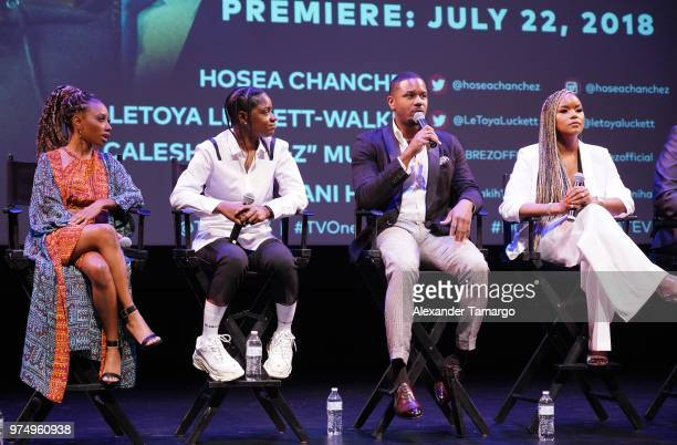 Imani Hakim BreZ Hosea Chanchez and LeToya Luckett are seen at the TV One Down For Whatever premiere at the American Black Film Festival at the...