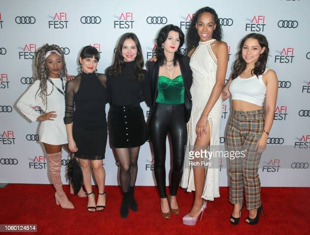 Imani Hakim Flora Diaz Samantha Robinson Isa Mazzei Quei Tann and Jessica Parker Kennedy attend the AFI Premiere of 'Cam' on November 10 2018 in...