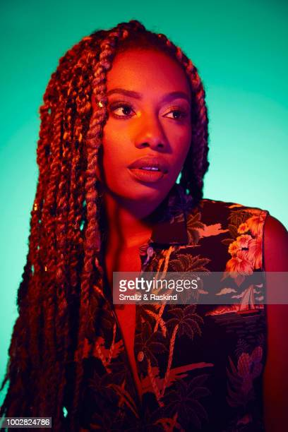 Imani Hakim from TV One's 'Down for Whatever' poses for a portrait at the Getty Images Portrait Studio powered by Pizza Hut at San Diego 2018 Comic...