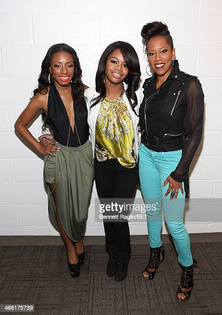 Imani Hakim Gabby Douglas and Regina King visit 106 Park at BET studio on January 30 2014 in New York City