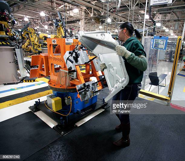 Imani Long of Redford Michigan works at the Fiat Chrysler Automobiles US Warren Stamping Plant January 22 2016 in Warren Michigan FCA US officially...