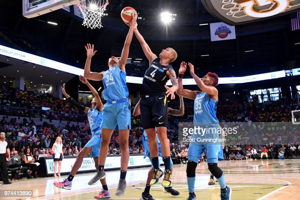 Imani McGeeStafford of the Atlanta Dream and Candice Dupree of the Indiana Fever fight for the rebound during the game on June 14 2018 at Hank...