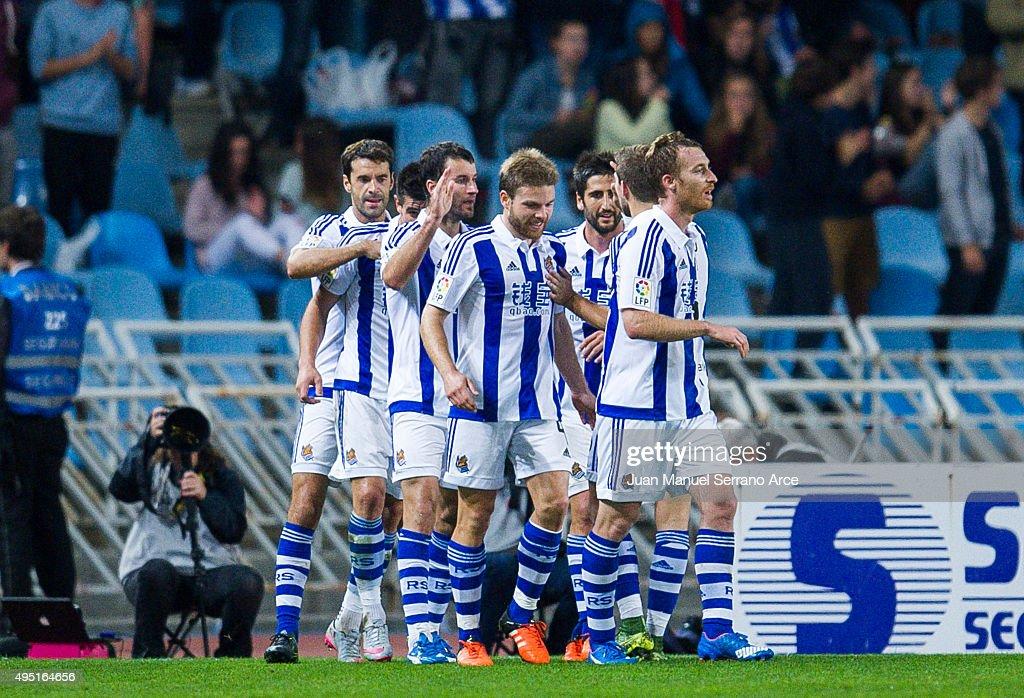 Imanol Agirretxe (C) of Real Sociedad celebrates after scoring his team's second goal during the La Liga match between Real Sociedad de Futbol and Celta de Vigo de Futbol at Estadio Anoeta on October 31, 2015 in San Sebastian, Spain.