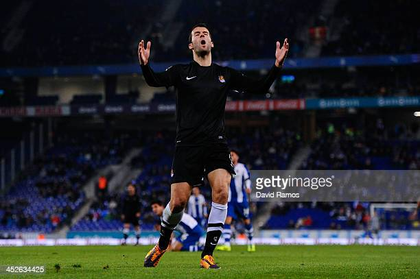 Imanol Agirretxe of Real Sociedad reacts after missing a chance to score during the La Liga match between RCD Espanyol and Real Sociedad de Futbol at...