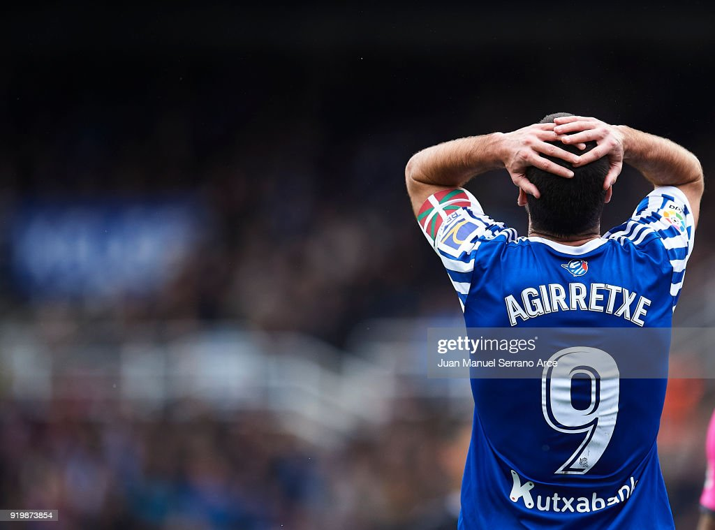 Imanol Agirretxe of Real Sociedad reacts during the La Liga match between Real Sociedad and Levante at Estadio de Anoeta on February 18, 2018 in San Sebastian, Spain.