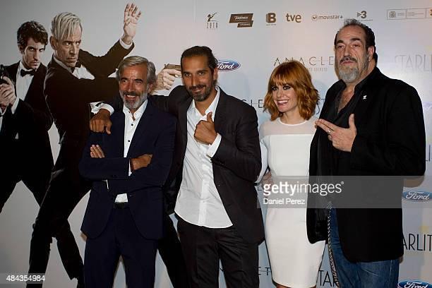 Imanol Arias Alexandra Jimenez Javier Ruiz and Daniel Rojo attend the Spanish premiere of the movie 'Anacleto Agente Secreto' on August 17 2015 in...