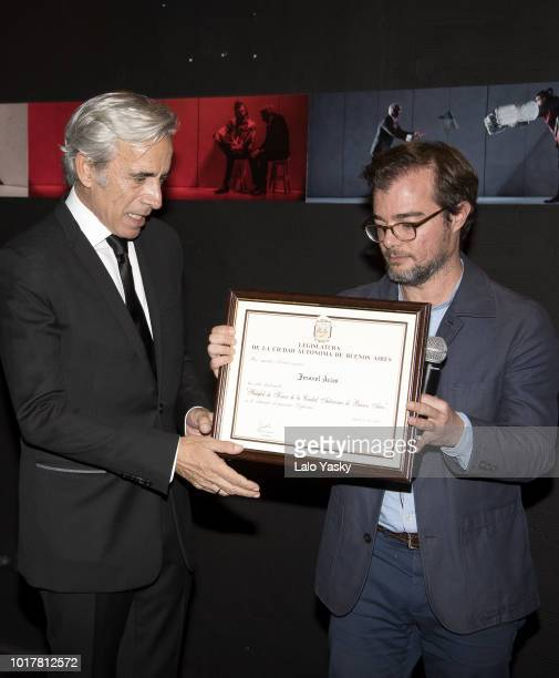 Imanol Arias and Buenos Aires Minister of Culture Enrique Avogadro attend 'Imanol Arias Named Guest Of Honour In Buenos Aires' ceremony at the Maipo...