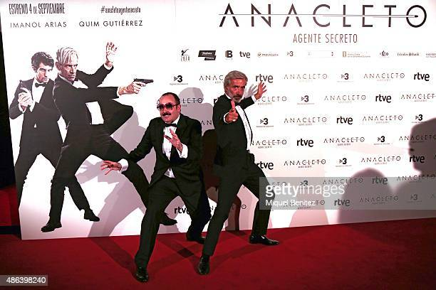 Imanol Arias and Carlos Areces attend a premiere for 'Anacleto Agente Secreto' on September 3 2015 in Barcelona Spain