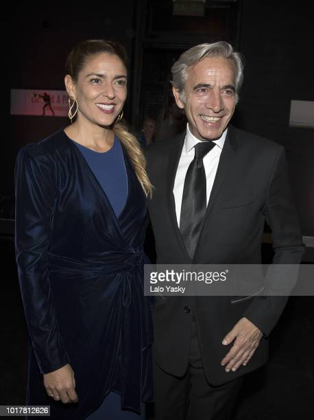 Imanol Arias and Irene Meritxell attend 'Imanol Arias Named Guest Of Honour In Buenos Aires' ceremony at the Maipo Theater on August 16 2018 in...